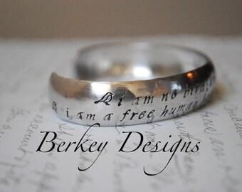 I am No Bird Charlotte Bronte, Jane Eyre or Custom Hand Stamped Bracelet- Personalized Bracelet