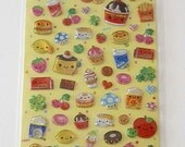 KAWAII Stickers Sticker Sheet By Q-LIA - Plexi GLITTER Sweets and Junk Food