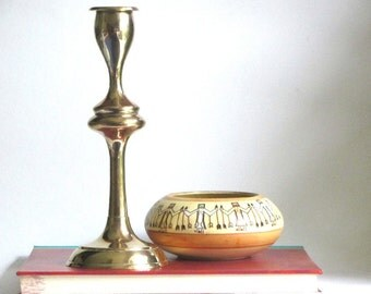 Brass Candleholder Mid Century Gimbel's Candlestick Home Decor Mantel Display