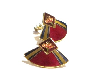 Laurel Burch Ruby Red Water Lilies Fan Shaped Pierced Earrings 22K Gold Trim Collectible Jewelry