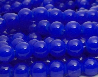 Dark Ultramarine Blue Round Glass Beads - 8mm Smooth, Shiny Jewelry Beads - 25pcs - BN14