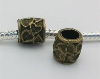 3 Beads - Hearts Barrel Bronze European Bead Charm E1502