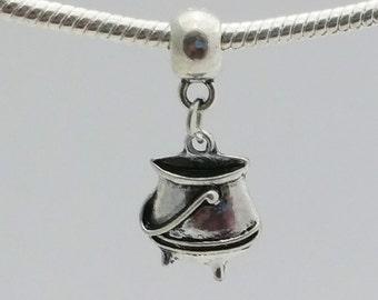 1 Bead- Pot Caldron Dangle Silver European Bead Charm E1539