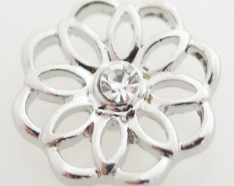 1 PC 18MM White Rhinestone Flower Silver Candy Snap Charm Jewelry kb7141 CC1757
