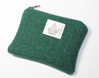 HARRIS TWEED purse, coin purse, change purse, dark green