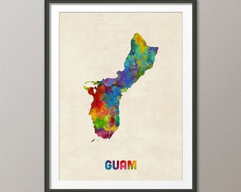 Guam Watercolor Map, Art Print (2402)