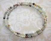 Amazonite Small Stone Necklace, Multi-Color Amazonite Choker Necklace, Amazonite Choker