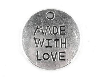 Made With Love Round Charm Antique Silver 20 mm U.S Seller - sc148