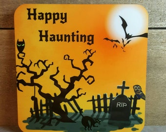 Halloween Coasters set of 4  Happy Haunting Coaster Set of 4