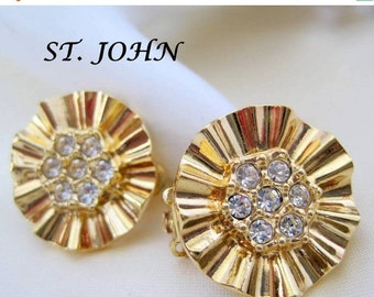 St John Earrings -  Rhinestone Centers-  Clip On NOS