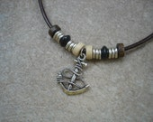 Mens Nautical Rope Anchor Leather Necklace with Wood and Rondelle Bead Accents, Mens Jewelry, Beach Jewelry, Boho Jewelry
