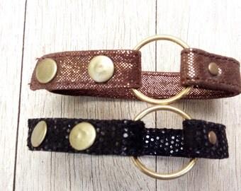 Leather Bracelet, woman cuff bracelet, black leather with studs
