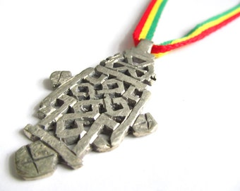 Ethiopian Cross Pendant - Rastafari Necklace - Coptic Cross Necklace - Metal African Cross on Rasta Ites Cord - Rastafari Jewelry - Reggae