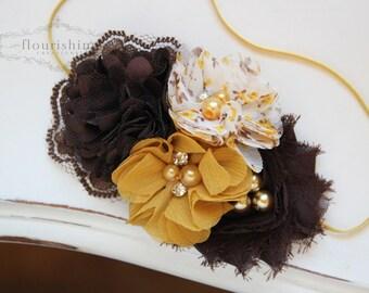 Mustard, Cream and Brown flower headband, mustard headbands, newborn headband, photography prop, fall headbands