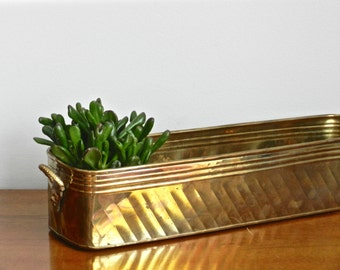 Vintage Brass Planter Flower Box Long Rectangular Indoor Outdoor Planter Multi Pot Succulent Planter Rustic Chic Decor