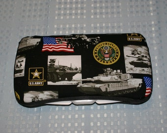 US Army Fabric Covered Baby Wipes Case - Baby Shower Gift