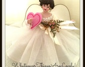 Miniature Brunette Angel Tree Topper OOAK Valentine Wish Handmade Angel Doll