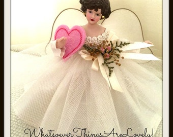 Miniature Brunette Angel Tree Topper OOAK Valentine Wish Handmade Angel Doll