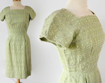 ON SALE 60s Henry Lee Wiggle Dress Green Cotton Voile Cut Out Embroidery Lace
