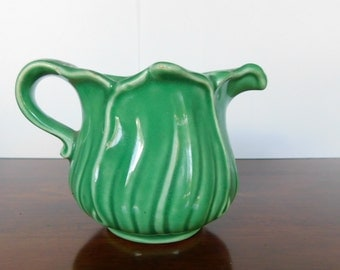 Cream Pitcher Small Creamer Green Vintage Cream Oitcher