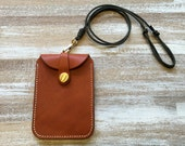 Hand stitched Italy Vegetable Leather Minimalist wallet, Leather card holder, Leather card case, Neck Strap Lanyard wallet ID Case Holder