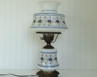 Vintage Quoizel Abigail Adams 2 Light Milk Glass Hurricane Table Lamp