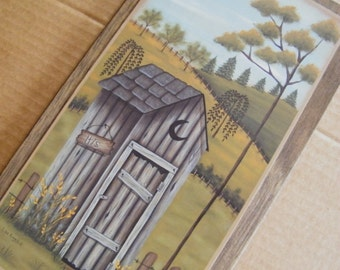 Wood Country Vintage Bathroom OUTHOUSE Wooden HIS Wall Art Decor Sign