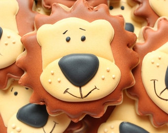 Lion Safari Decorated Cookies, Safari Birthday Cookies, Zoo Birthday Cookies, Animal Birthday Cookies, Decorated Cookies, Zoo Animal Cookies