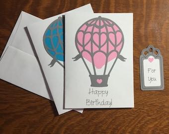 Happy Birthday Greeting Card with Gift Tag / Hot Air Balloon / Hot Air Balloon Birthday Card / Pink Hot Air Balloon / handmade card