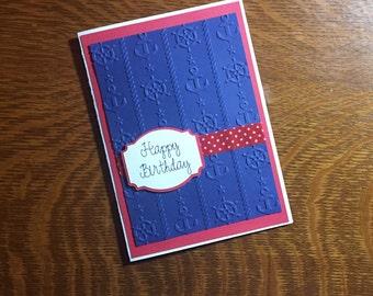 Happy Birthday Card Embossed Handmade Nautical Anchor Red White & Blue