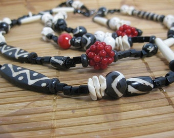 Red coral, African batik bone beads, carved wood beads, white turquoise and black glass spacers long necklace -- uptown Boho Chic