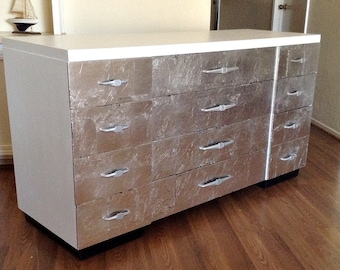 White and Silver Leaf Front  Mid Century 12 Drawer Dresser, Credenza