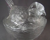 Set of 2 Vintage Hen on Nest Chick in Basket Covered Soup Bowl Clear Pressed Glass