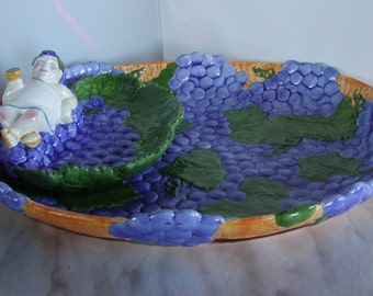 Vintage 2-Piece Large Chip and Dip Platter Handpainted Clay Art-1995-Bacchus Wine
