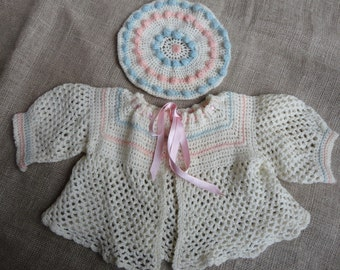 Vintage Baby Sweater Set with Hat Hand Made Crocheted Cream With Pink and Blue Trim