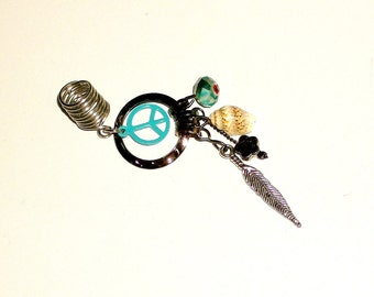 Dreadlock Jewelry - Turquoise Peace Sign Loc Jewel