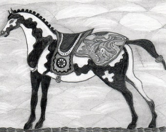 Drawing of a Persian Horse in Pencil on Paper