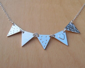 Silver Bunting Necklace - Heart - 5 Flags - Sterling Silver