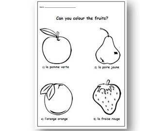 FRENCH Colouring PAGE,Learn French Colours With Fruits,Printable  Activity Worksheet for School and Homeschooling