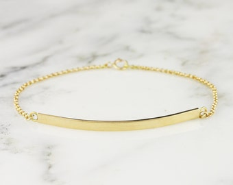 Personalized 18k Gold Bar Bracelet - Engraved Gold ID Bracelet