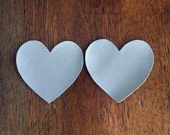 Light Grey Vinyl Heart Patches