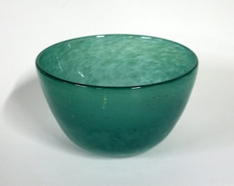 Hand Blown-Green Spotted-Glass Bowl