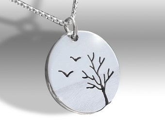 Birds and Tree Pendant, Silver Jewelry, Silver Pendant, Pendant, Bird Pendant