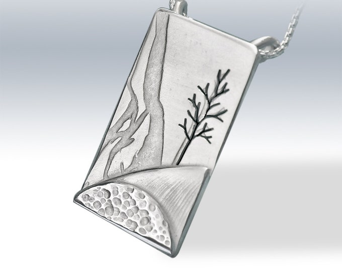 Silver Pendant, 'Rolling Hills', silver jewelry