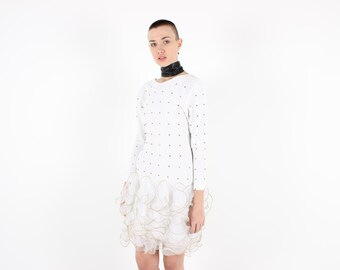80s Collectible 3D Origami Ruffle / White Studded / Sculptural Avant Garde Long Sleeve Bubble Party / Formal / Cocktail Dress