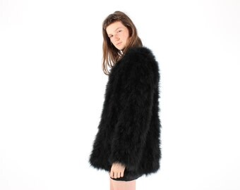 Full Marabou / Ostrich Feather Shaggy Mongolian Style Fur Rolling Stones Groupie / Club Kid / Almost Famous Black Swing Jacket / A Line Coat