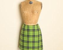 Vintage 90s EXPRESS Plaid Mini Skirt Clueless Heathers Grunge Preppy Lime Green Blue High Waist Punk NEW  M/L