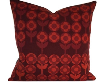 Cushion Cover Vintage 60s Verdure Fabric Peter Hall For Heals Red Pillow Cover