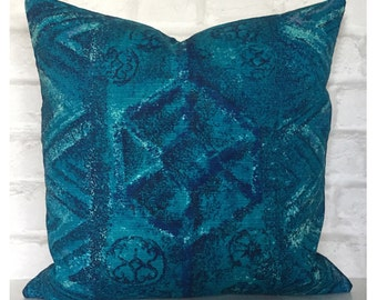 "Original Vintage 1960s Blue Abstract Fabric Cushion Cover Boho Hippie 18"" x 18"