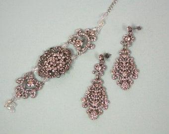 Bridal Earrings and bracelet set,  Wedding jewelry, Victorinan style Earrings, Vintage Bridal Jewelry, Vintage Bracelet, Chandelier Earrings
